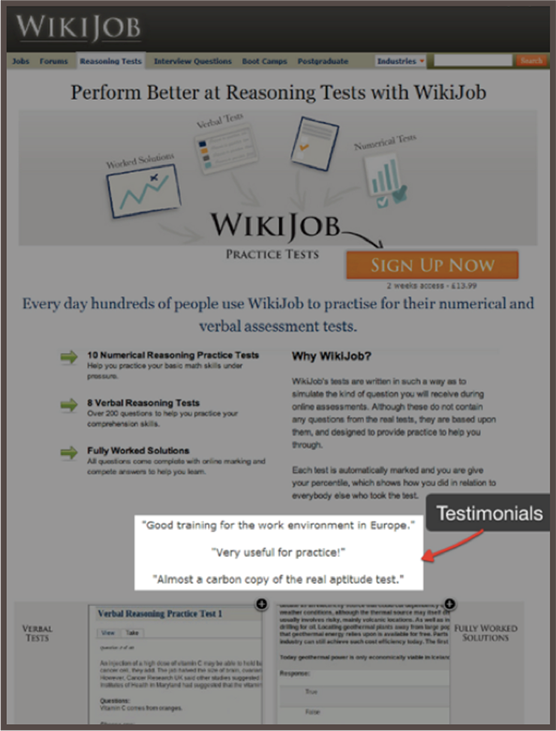 Landing Page Variation with Testimonials