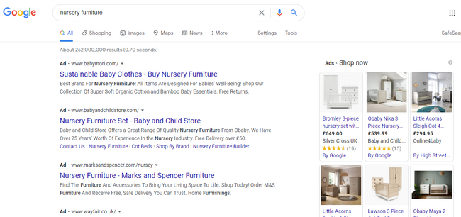 Searching for nursery furniture under google advertising ideas strategy