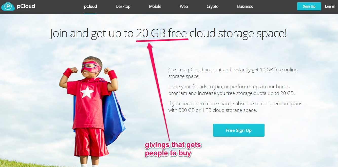 neuroscience sales tips - free offering for new customers, pCloud example